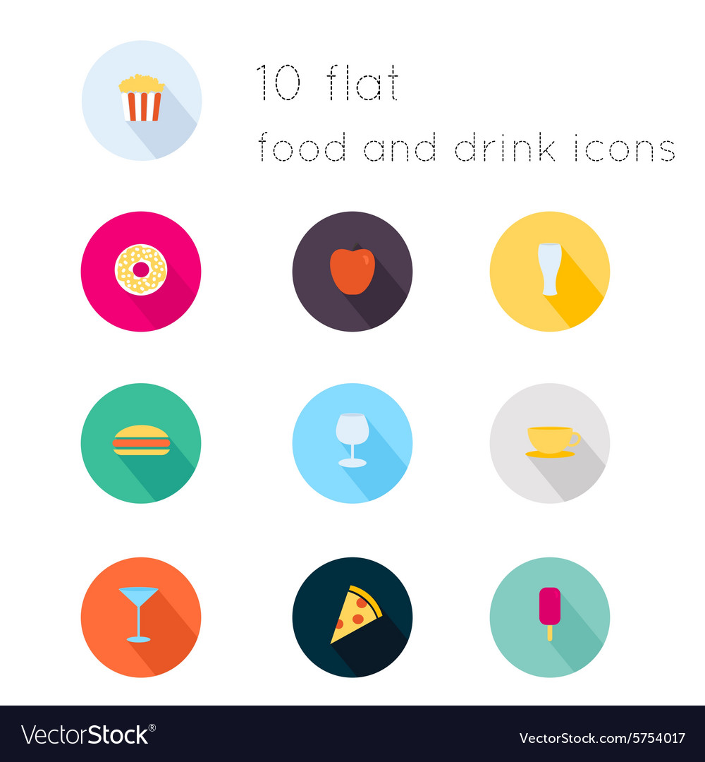 Modern flat icons collection with long shadow