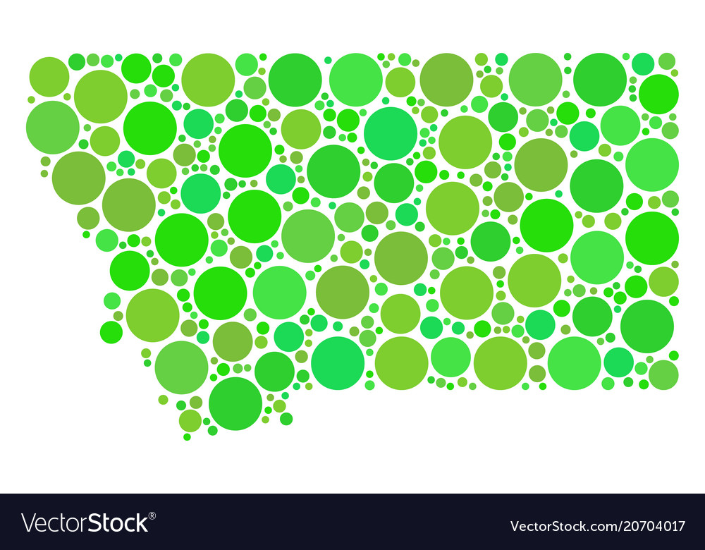 Montana State Map Collage Of Circles Royalty Free Vector