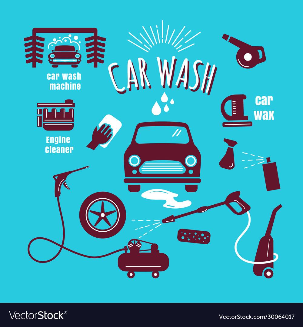 Set car wash icon hand drawn vintage design