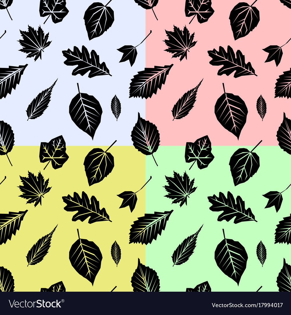 Set seamless pattern with fall leaves on color