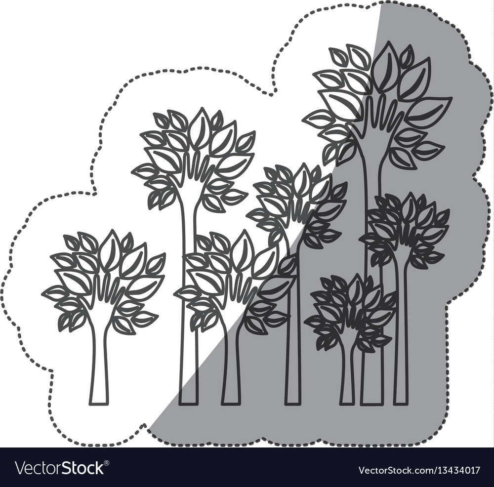 Silhouette trees with stem in form hand icon vector image