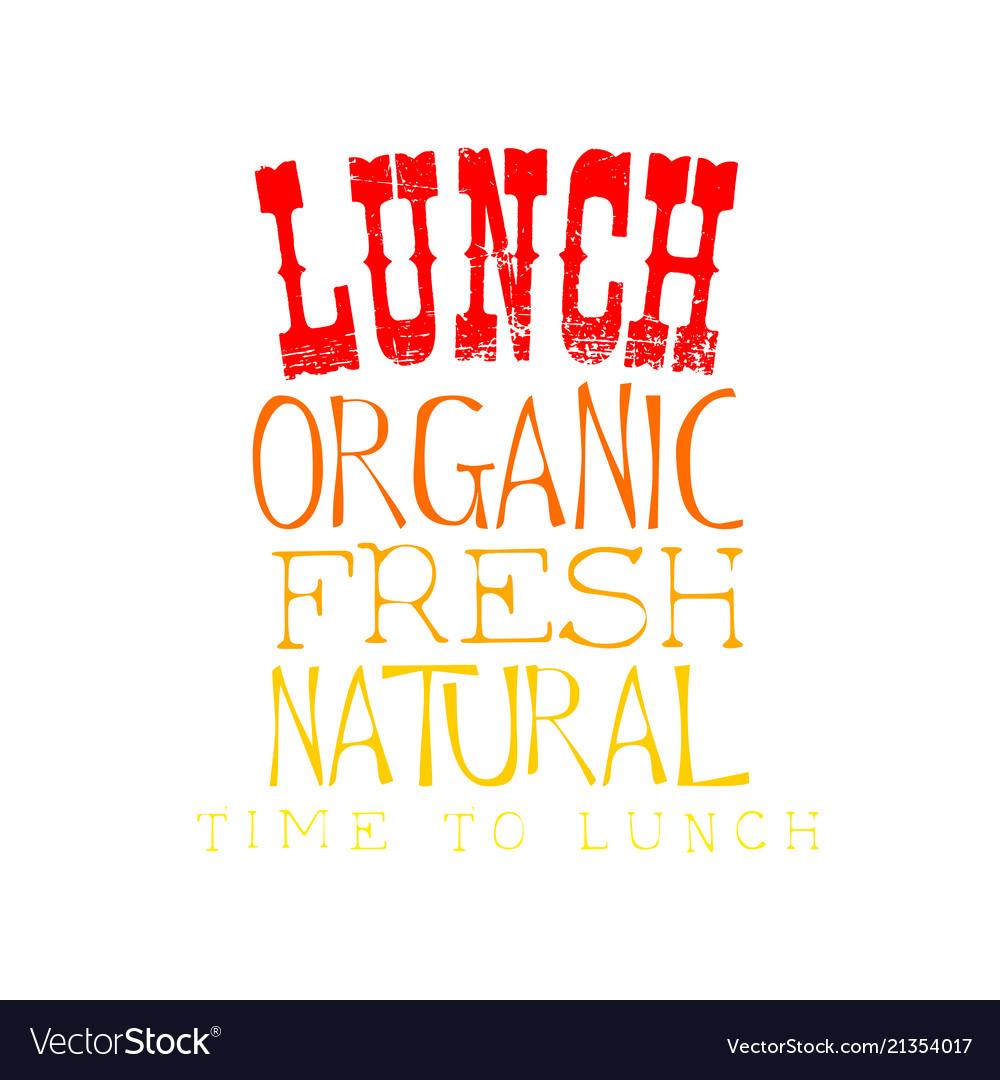 Sketch style emblem for lunch menu organic
