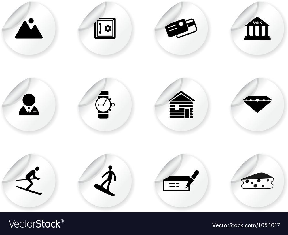 Stickers with Switzerland symbols vector image