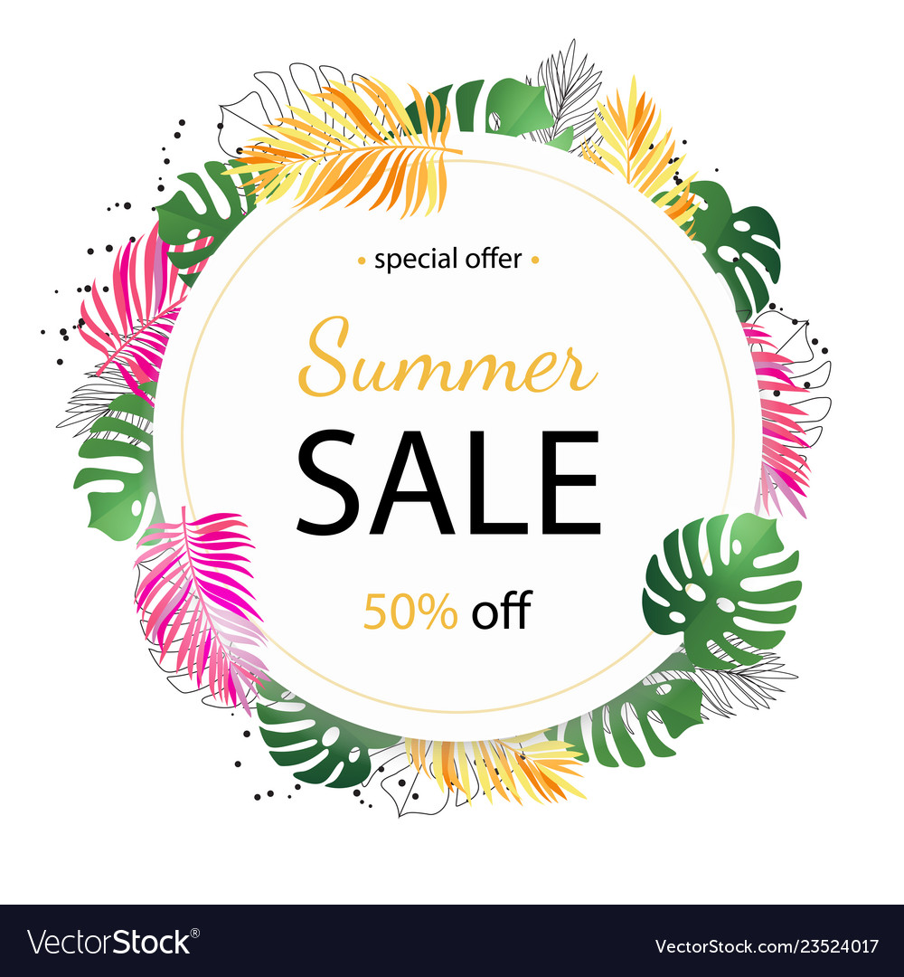 Summer sale background with tropical palm leaves