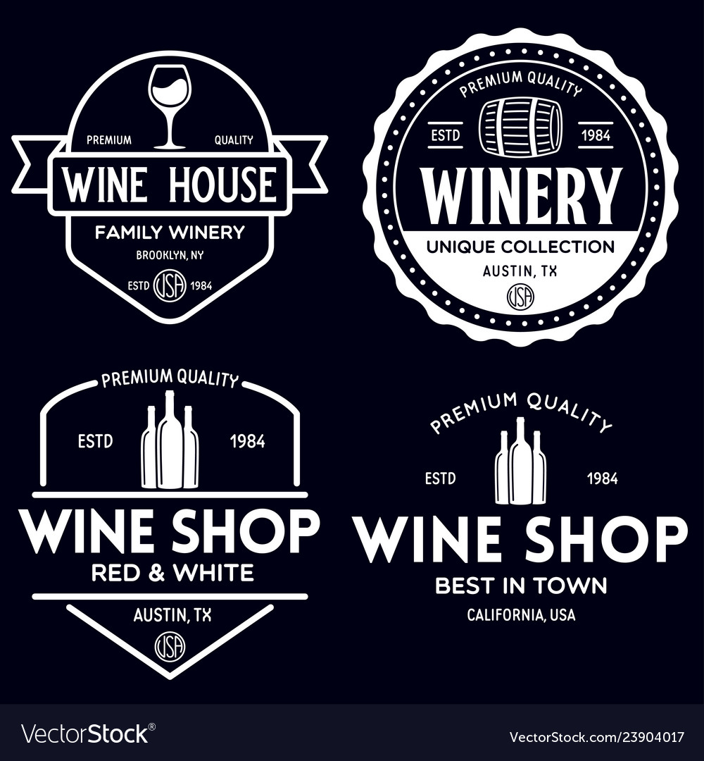 Wine winery logo or icon emblem label for menu