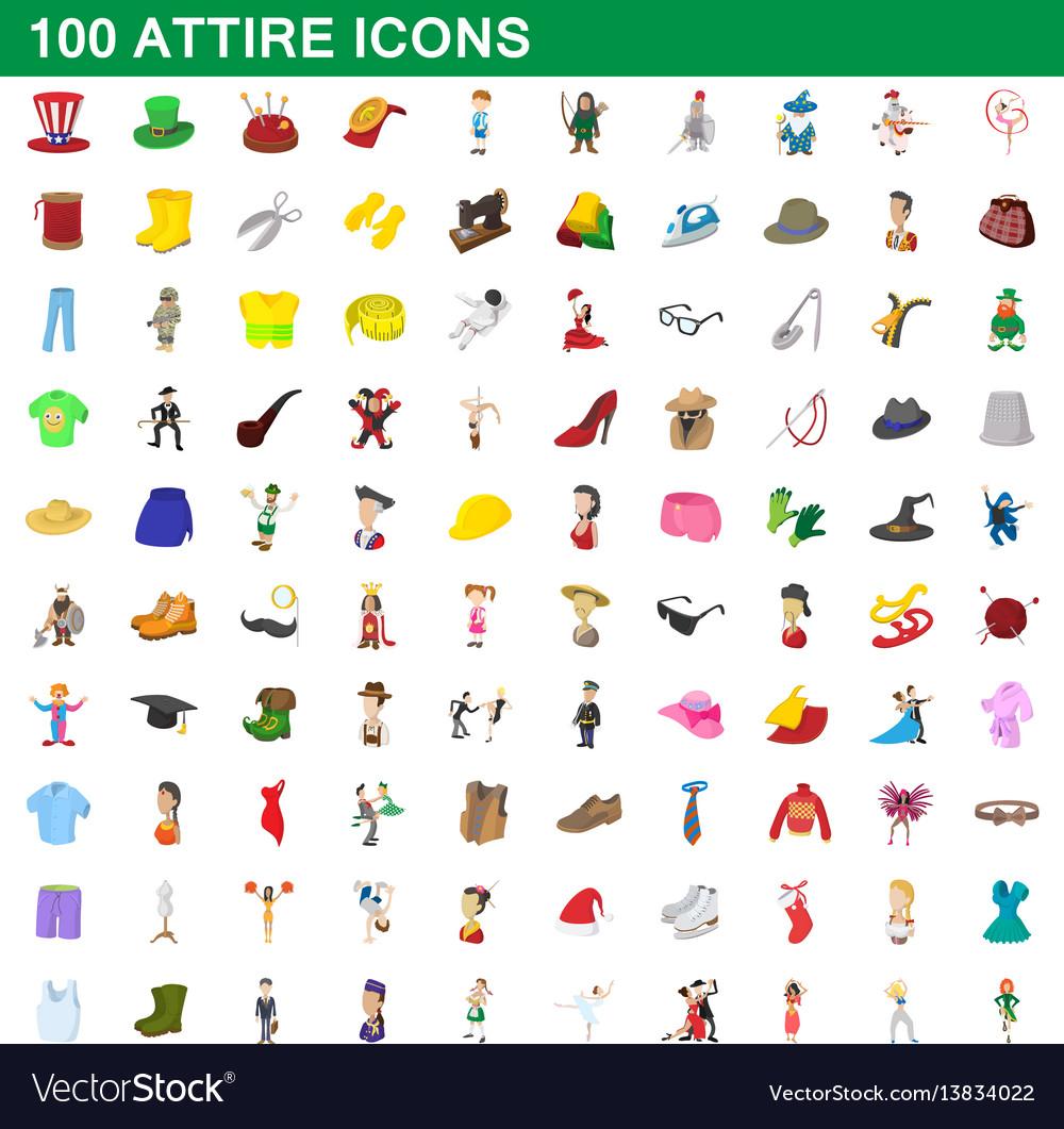 100 attire icons set cartoon style