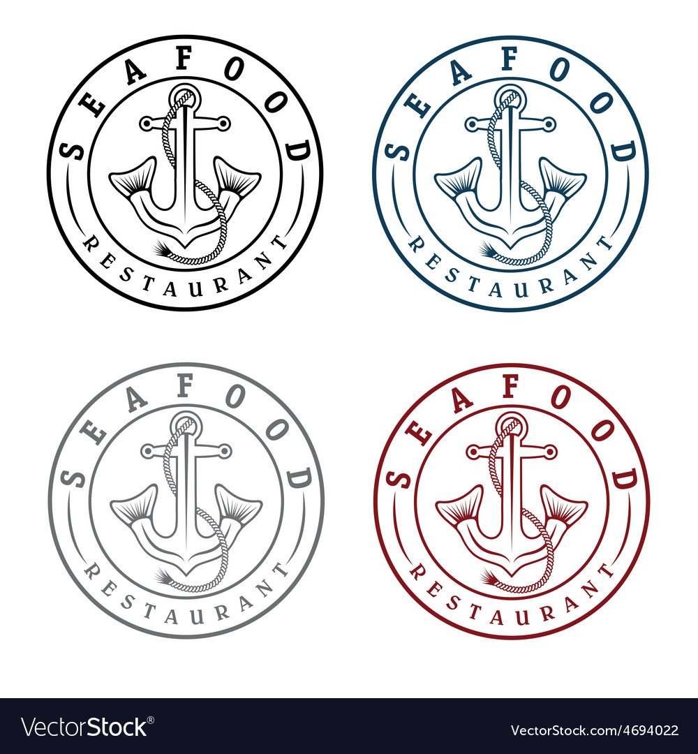 Anchor with fish tails seafood restaurant labels