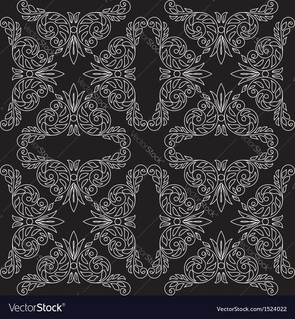 Black seamless pattern with floral light elements