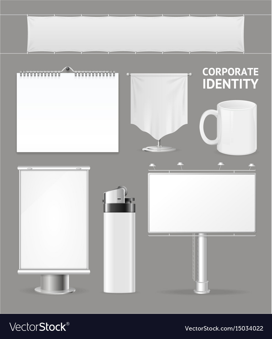 Corporate identity empty blank white set