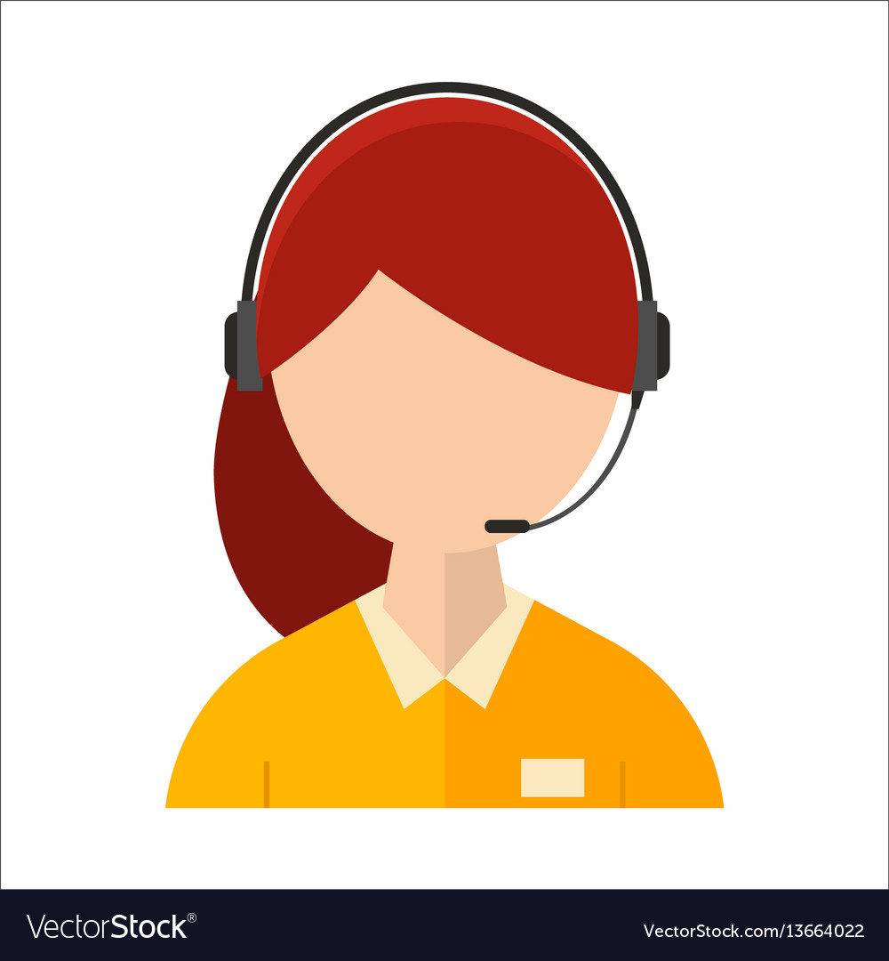Dispatcher young smiling woman talking headphone vector image