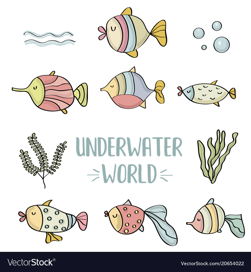 Doodle fishes set underwater world vector image