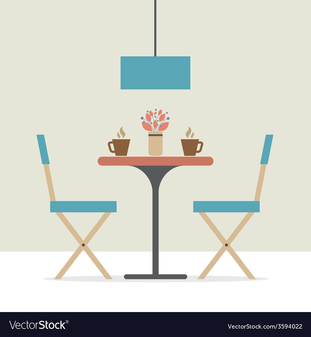 Nice Flat Design Interior Dining Room Vector Image