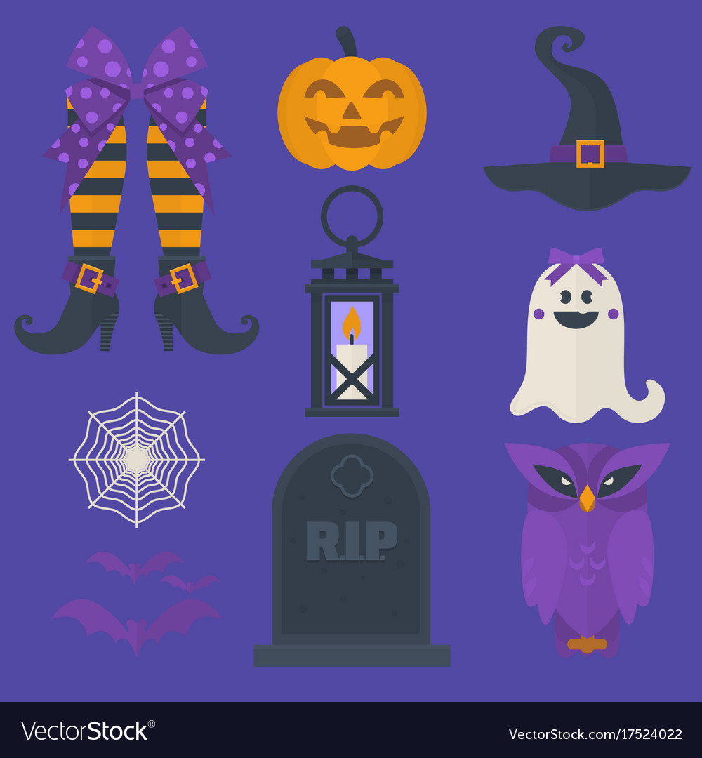 Funny halloween icons set including sweets