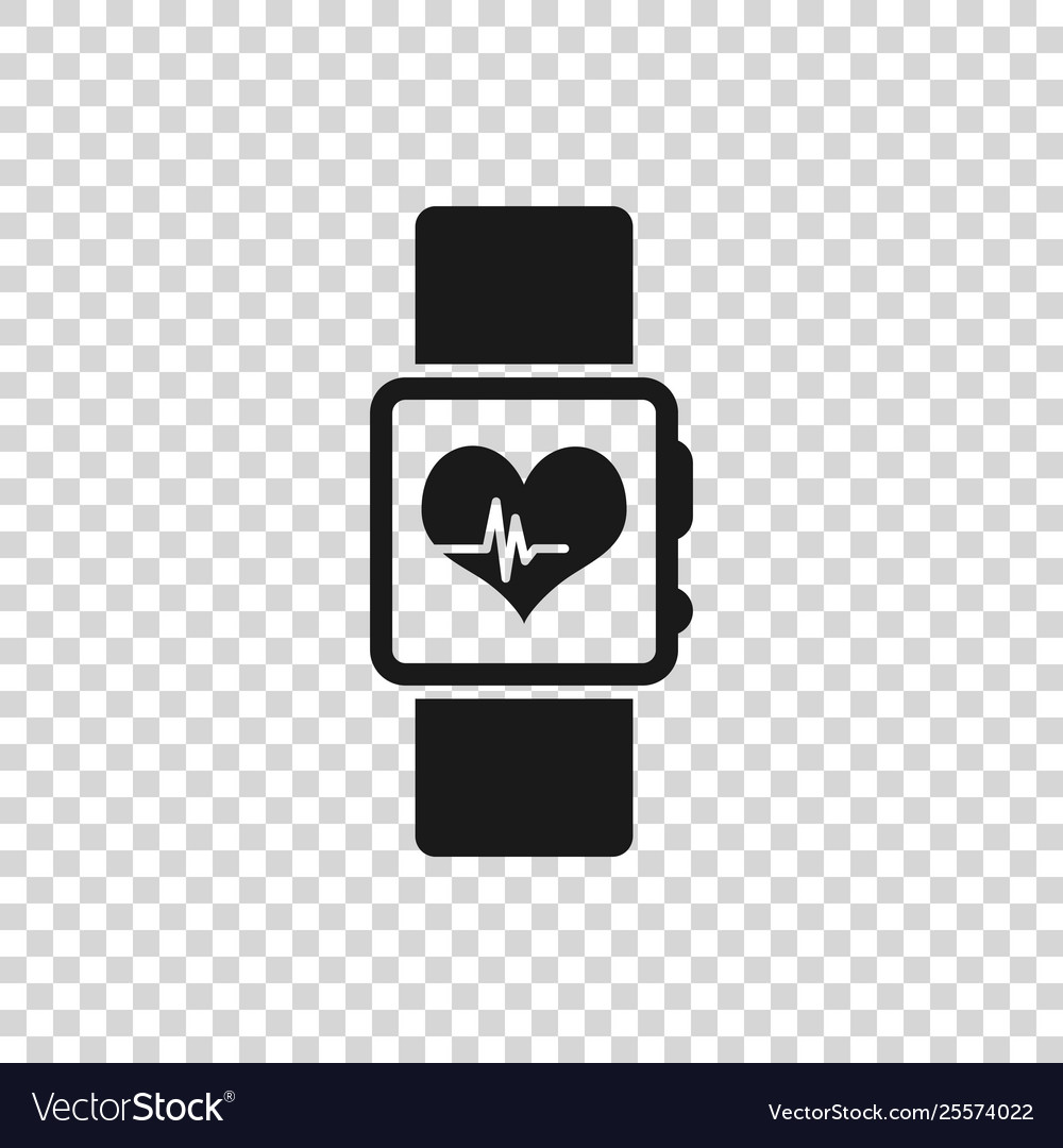 Grey smart watch showing heart beat rate icon