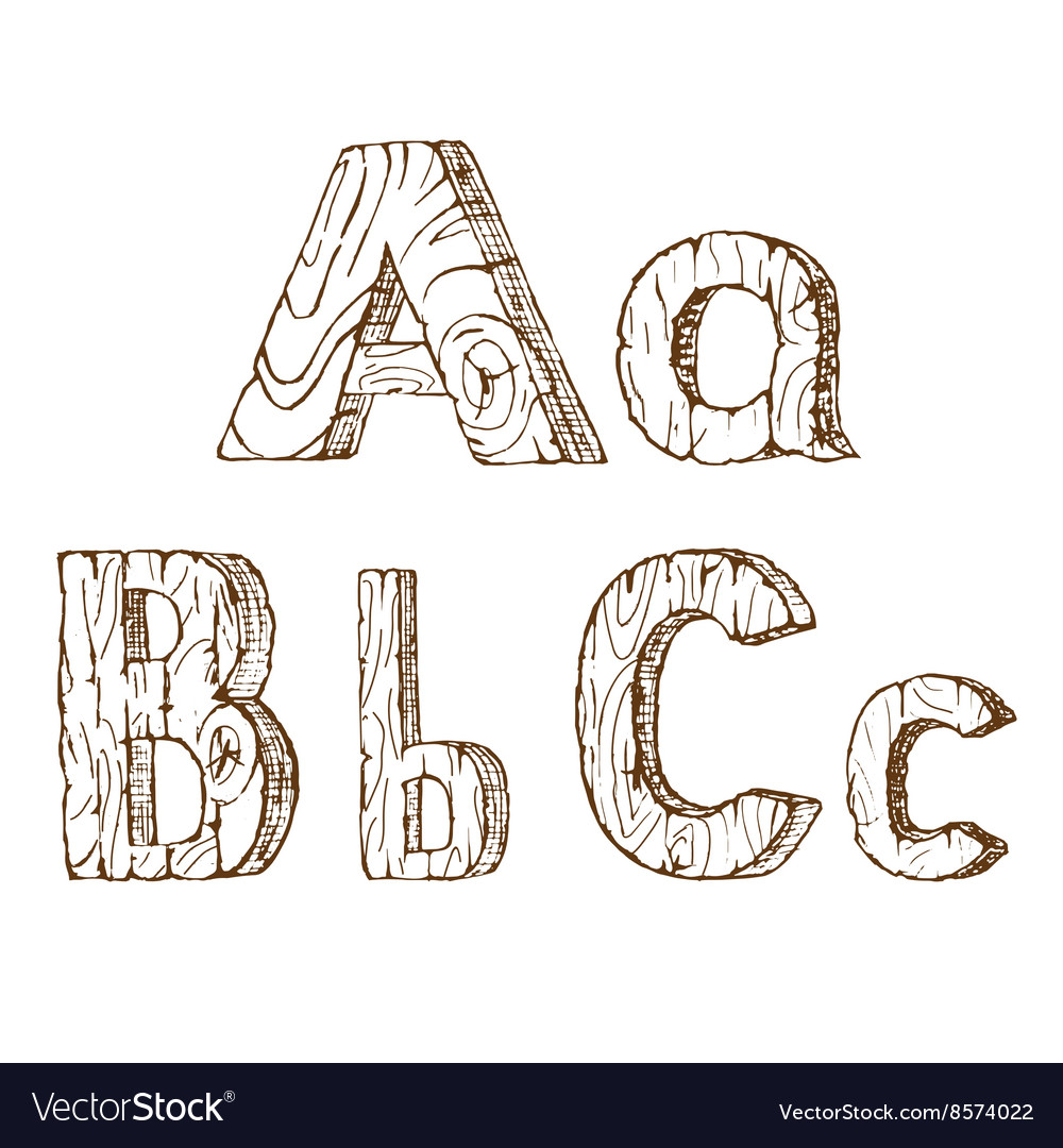 Hand-drawn wooden alphabet A B C