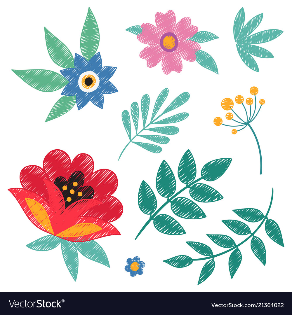 Hand embroidery ethnic floral elements isolated on