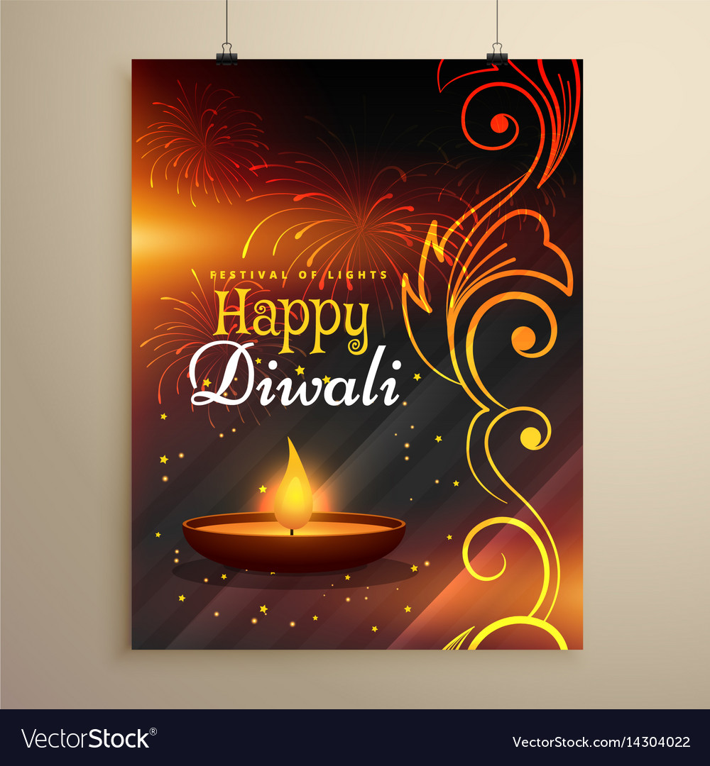 happy diwali wishes flyer design with diya and vector image