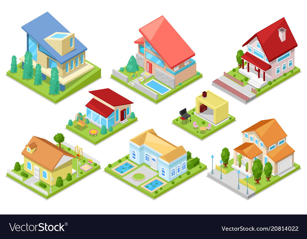 House isometric housing architecture or