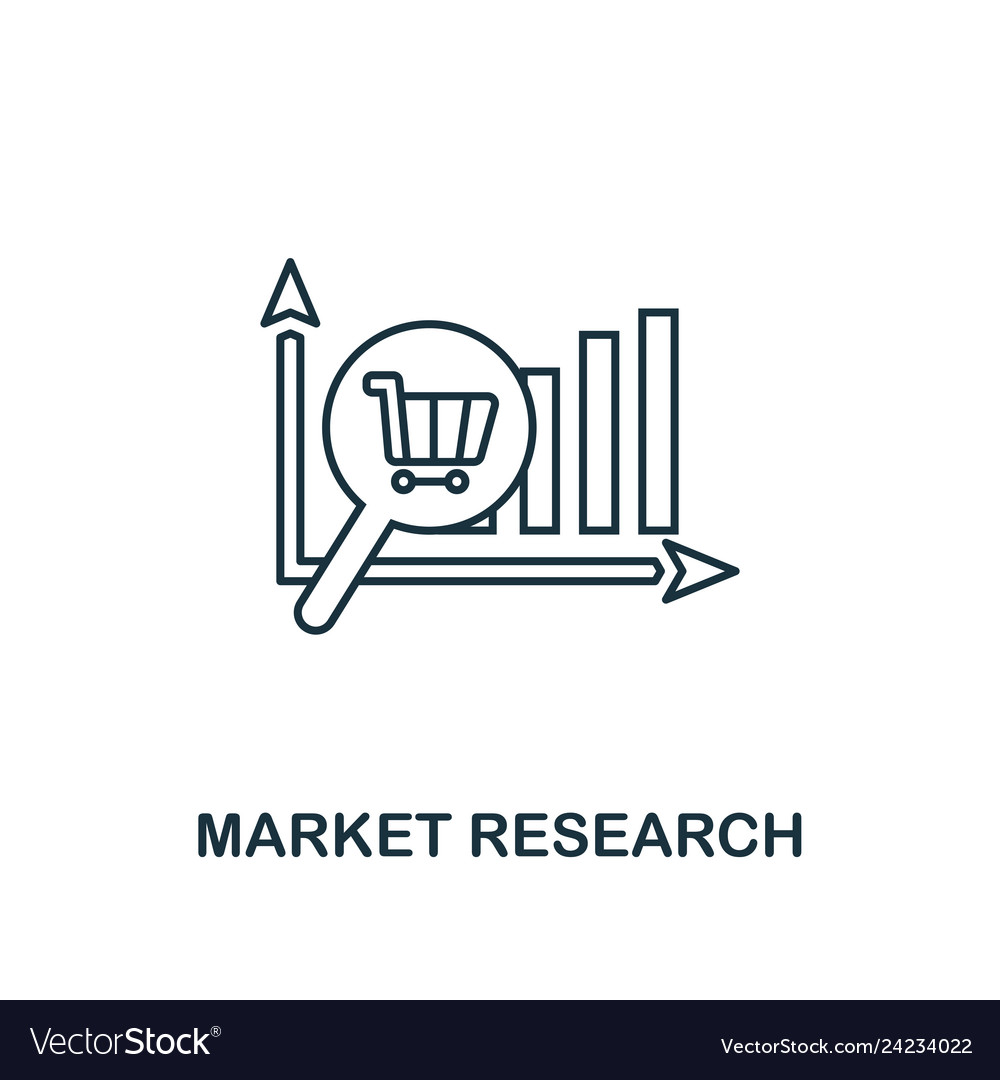 Market research icon thin line style symbol from