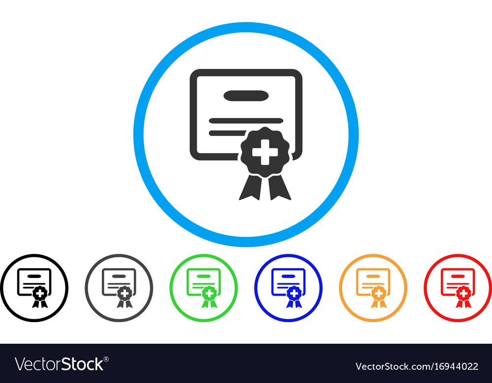 Medical certification rounded icon Royalty Free Vector Image