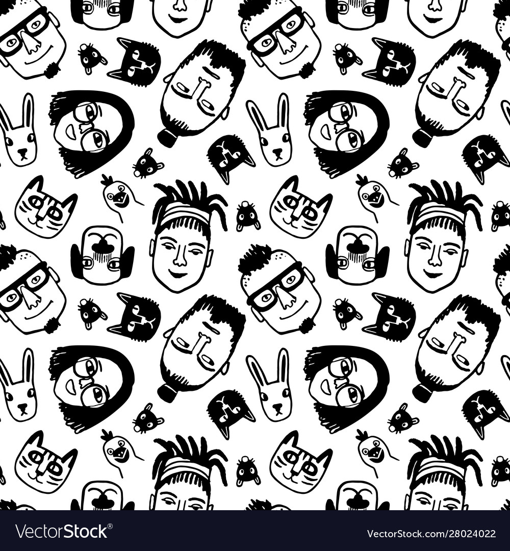 Seamless pattern with funny characters