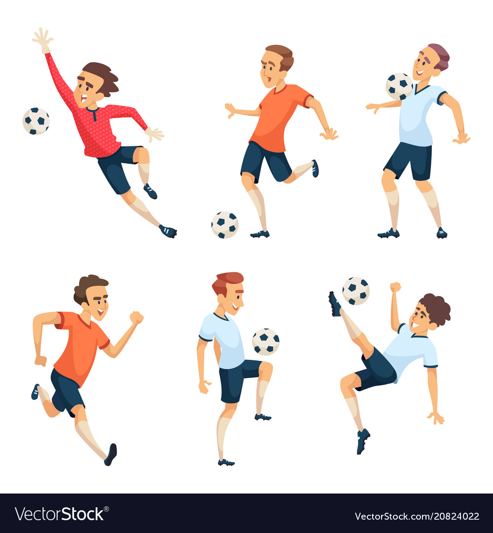 Soccer characters playing football isolated sport