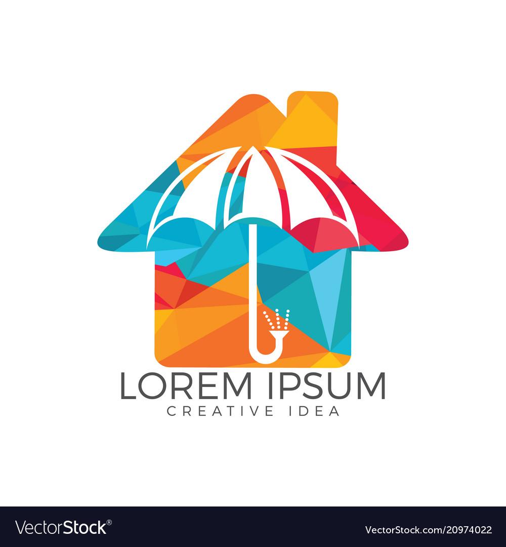 Umbrella house logo home insurance sign icon