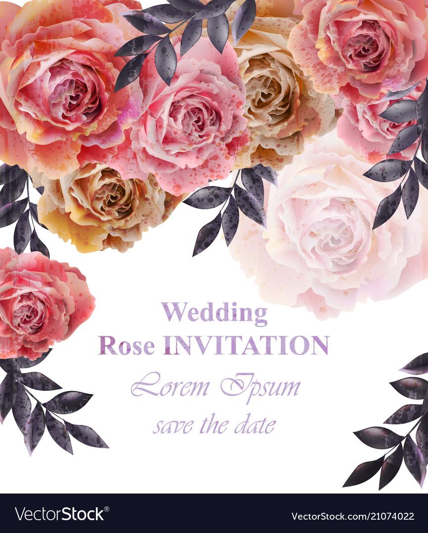 Vintage roses background floral card retro