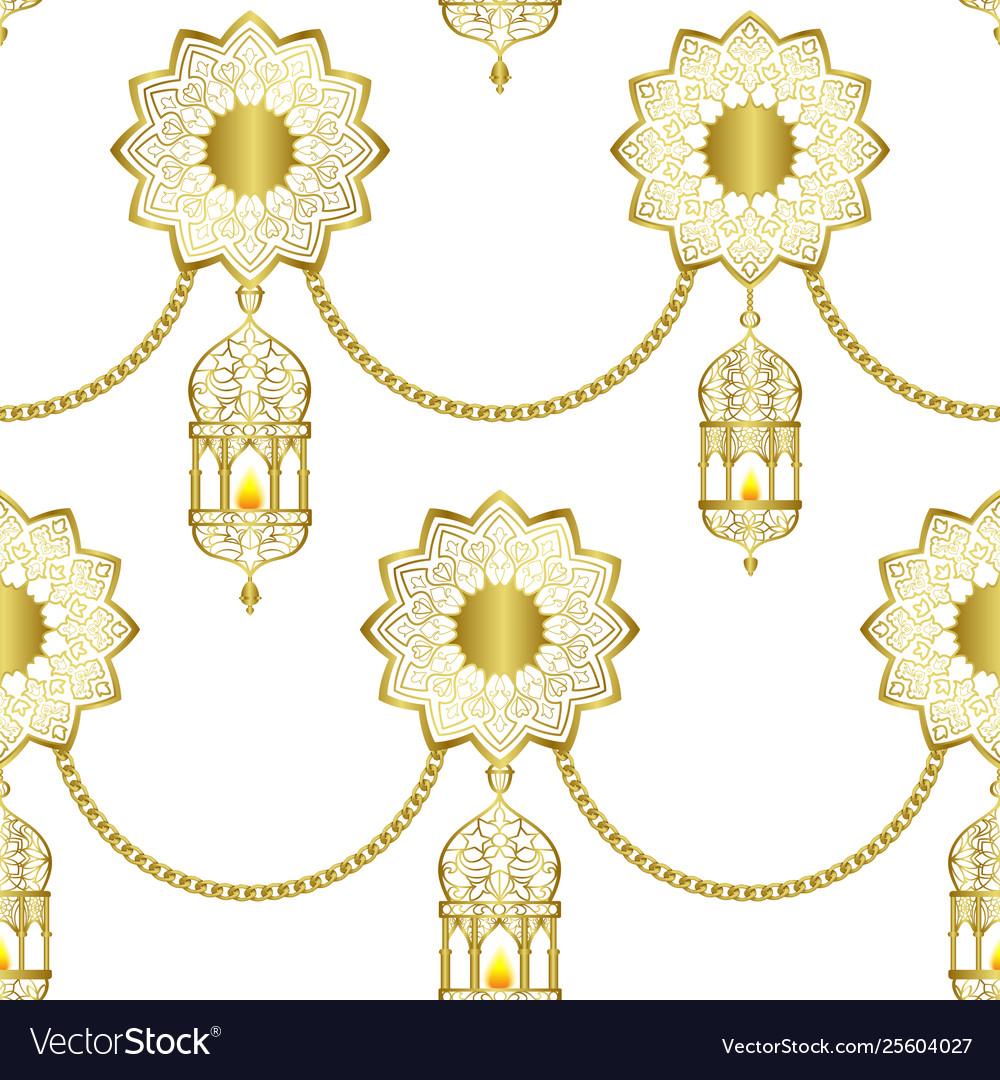 Arabic golden luxury seamless pattern on white