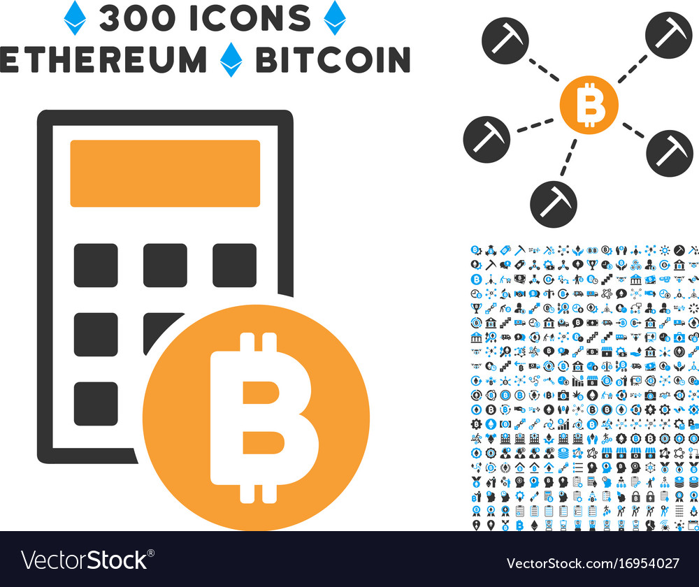Bitcoin Calculator Flat Icon With Vector Image