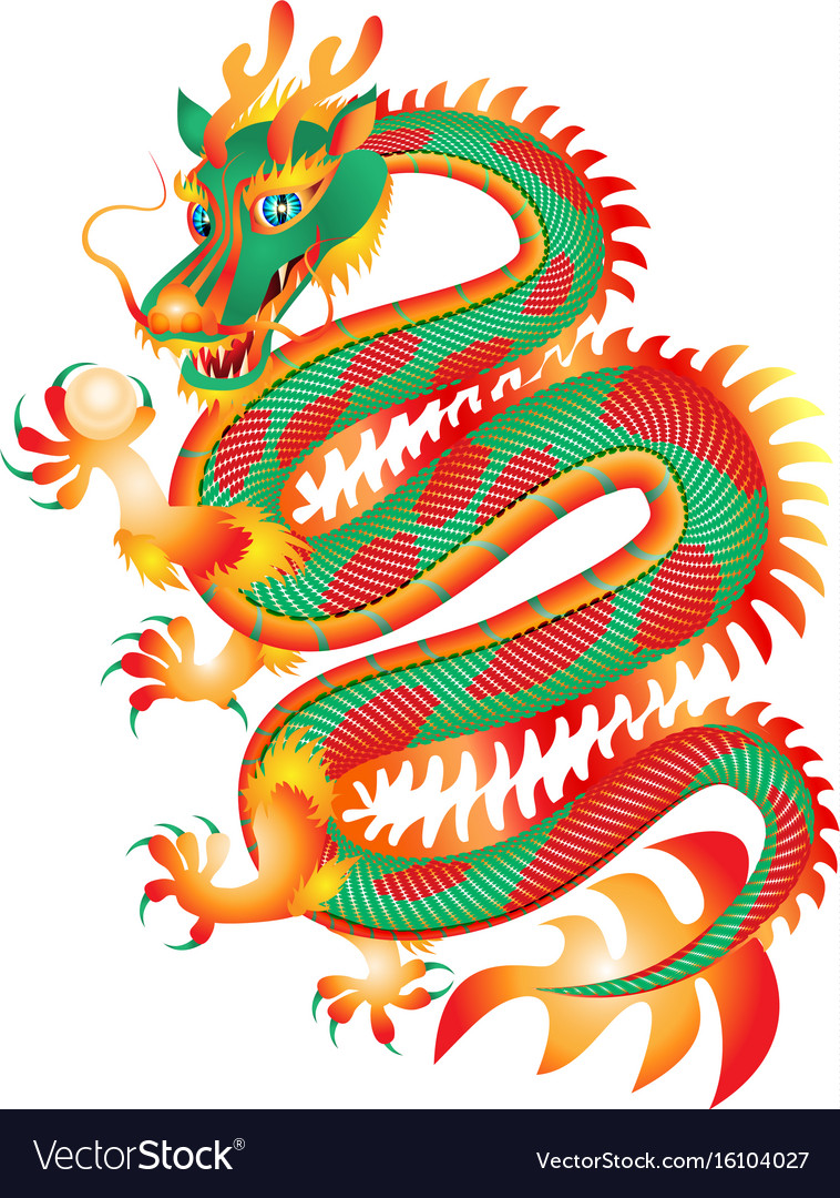 Chinese red and green dragon with a pearl