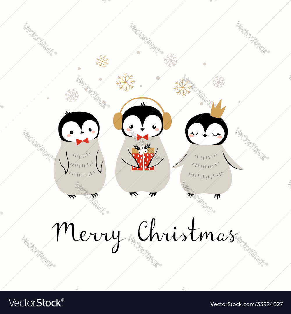 Christmas cute penguin greeting card