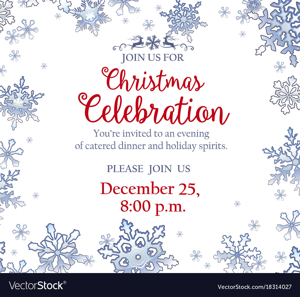 christmas party invitation with frosty snowflakes vector image
