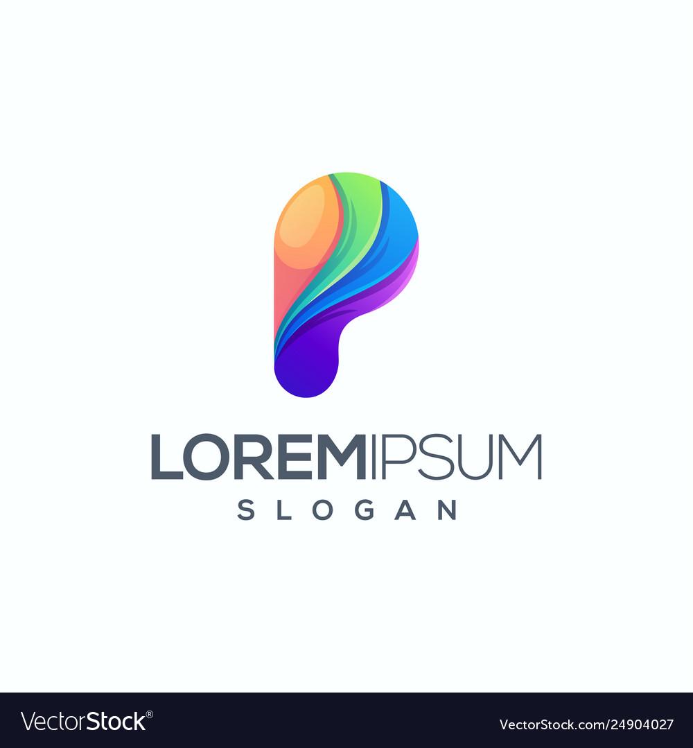 Colorful letter p logo design