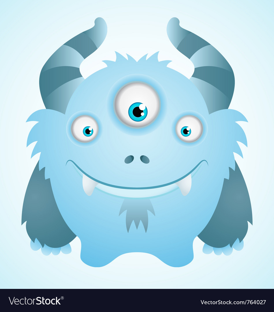 Cute blue monster vector image