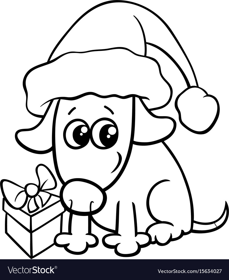 - Cute Dog On Christmas Coloring Book Royalty Free Vector