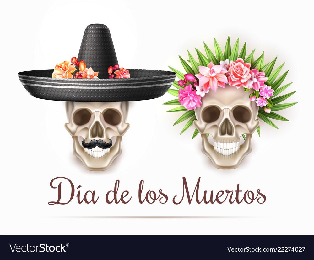 Dia de los muertos day dead skull flower