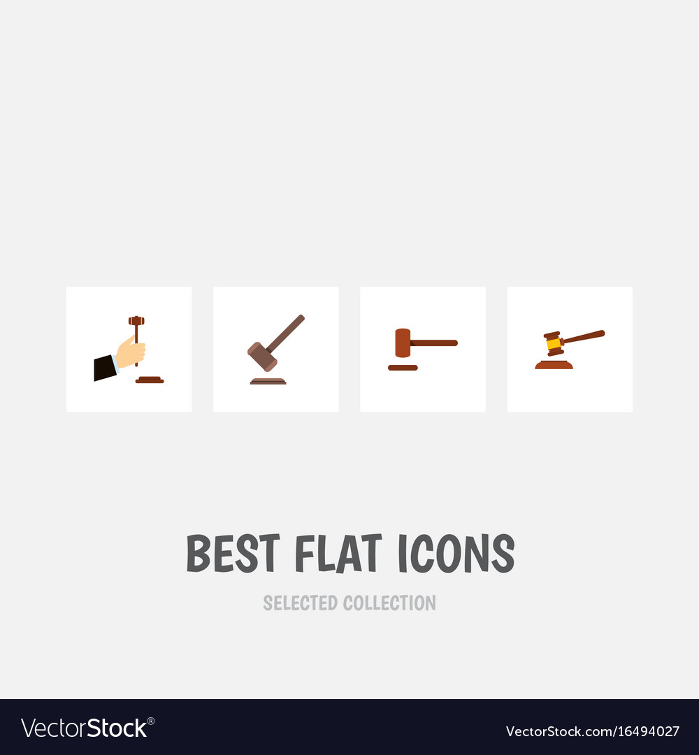 Flat icon lawyer set of defense tribunal hammer