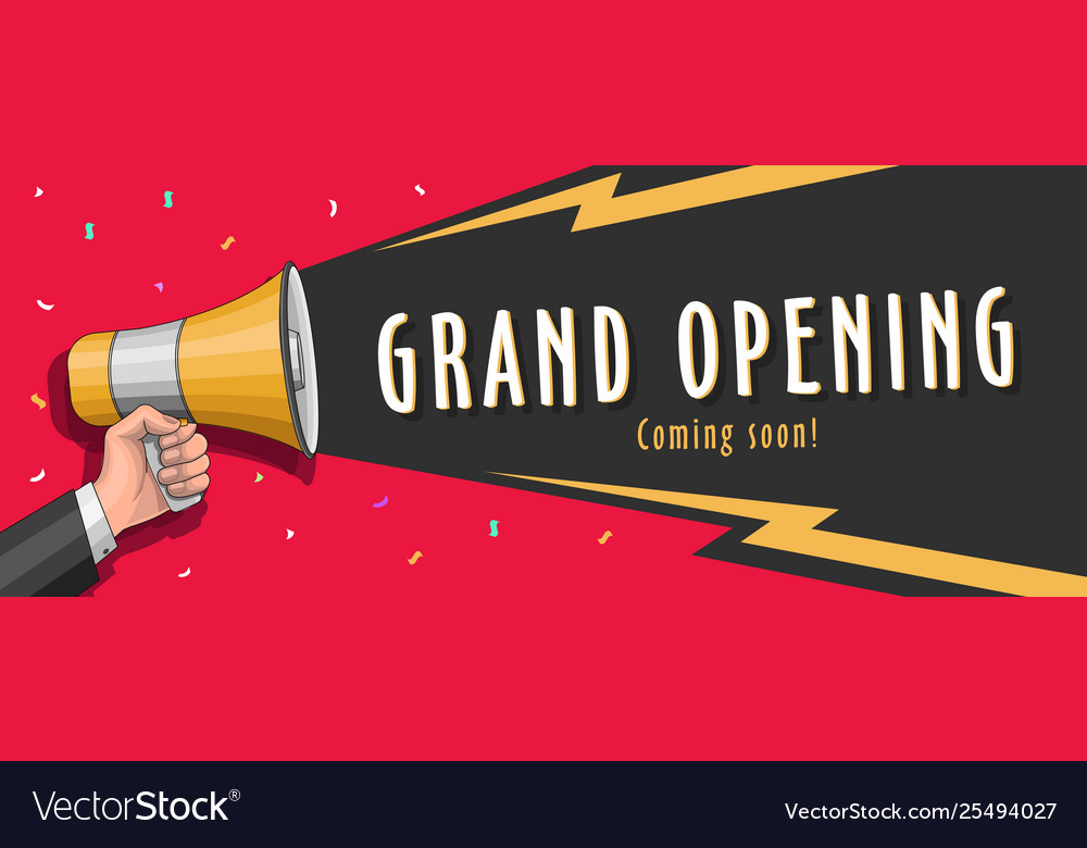 Grand Opening Banner With Megaphone And Royalty Free Vector