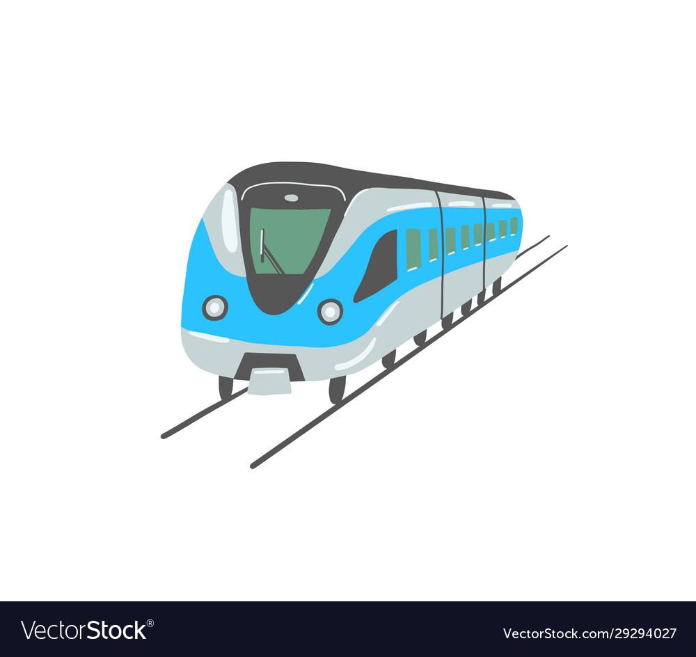 Hand drawing flat style metro train in dubai