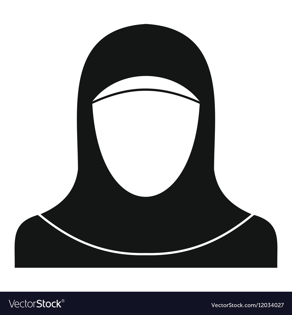 Crowd Of Indian Women Vector Avatars Stock Vector: Muslim Women Wearing Hijab Icon Simple Style Vector Image