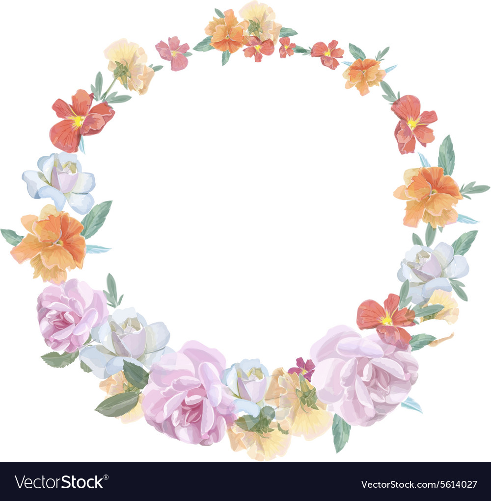 Retro round frame from roses painted in