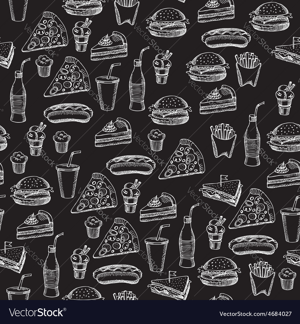 seamless pattern background fast food royalty free vector