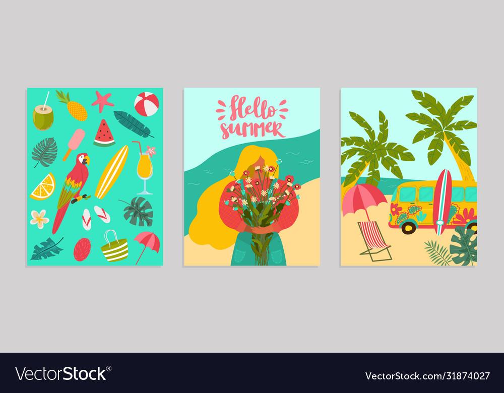 Set poster hello summer concept banner pattern