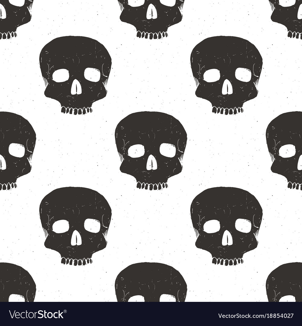 Skull seamless pattern hand drawn sketch