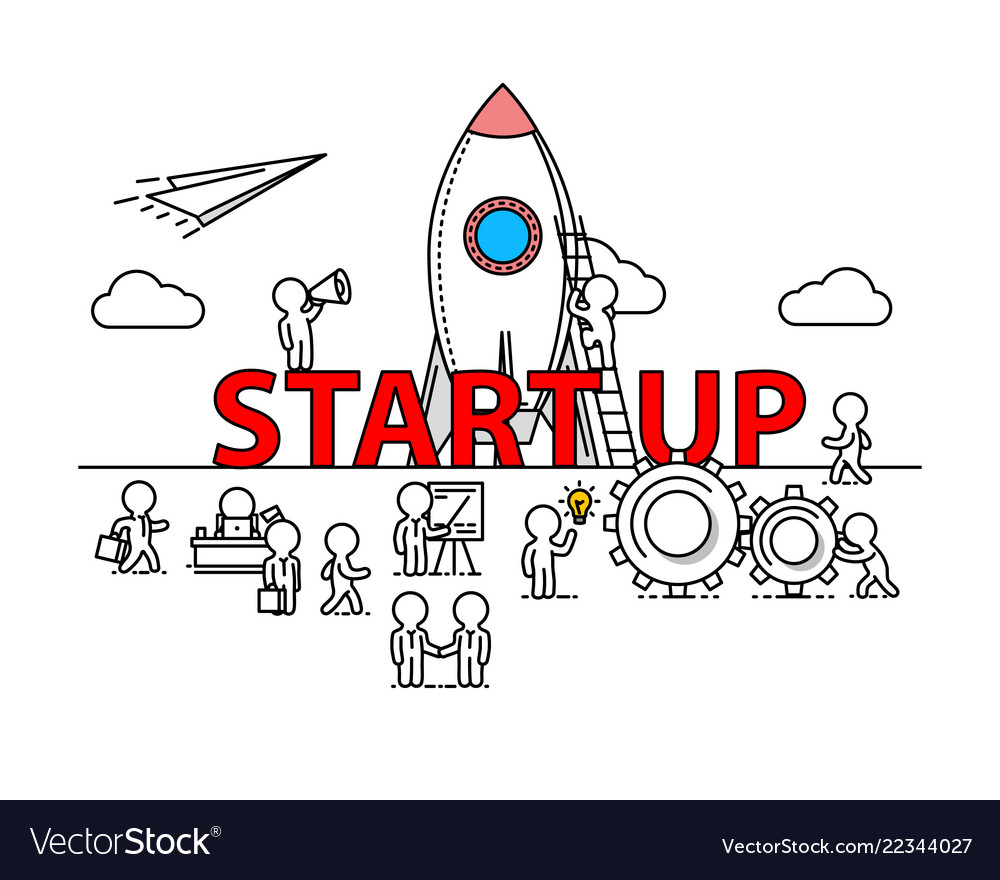 Start up text work office with people