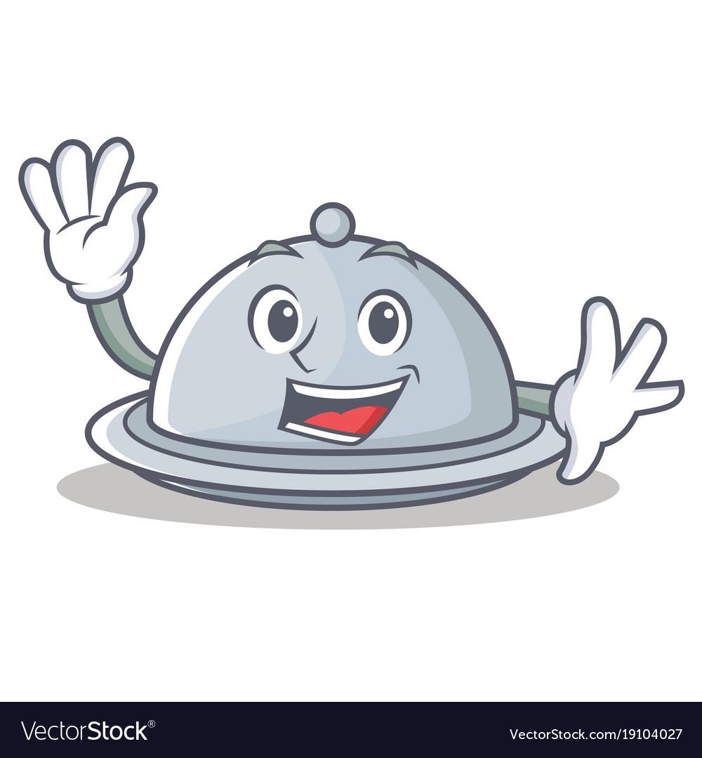 Waving tray character cartoon style vector image