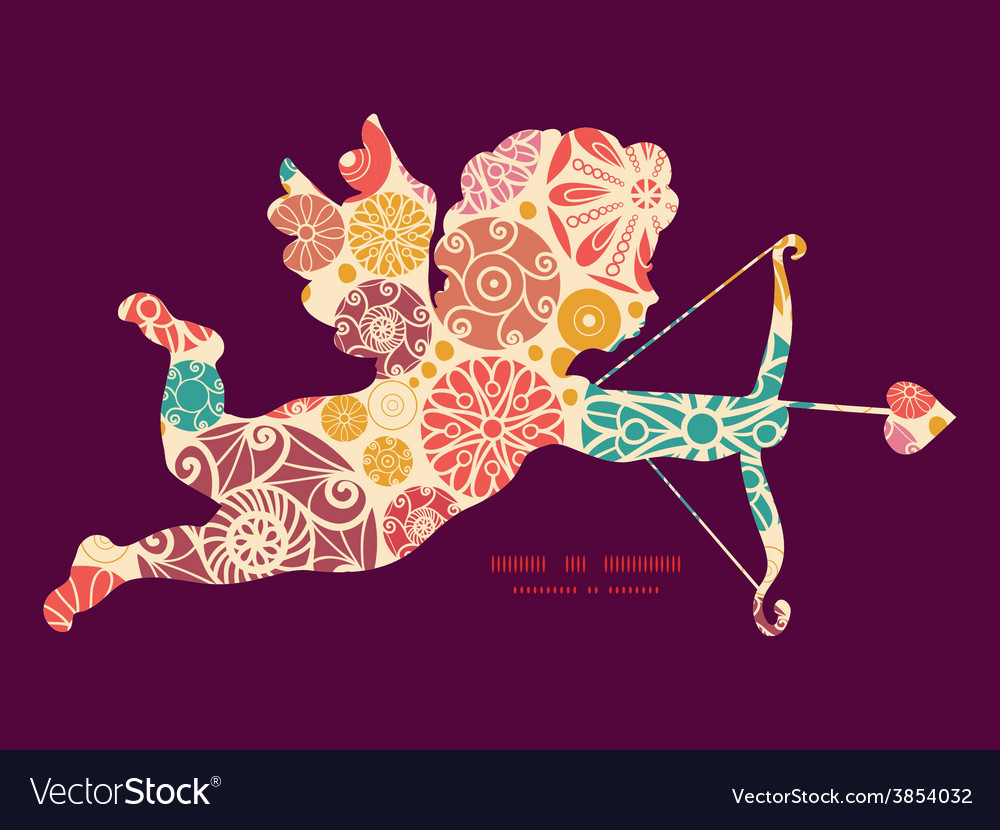 Abstract decorative circles shooting cupid