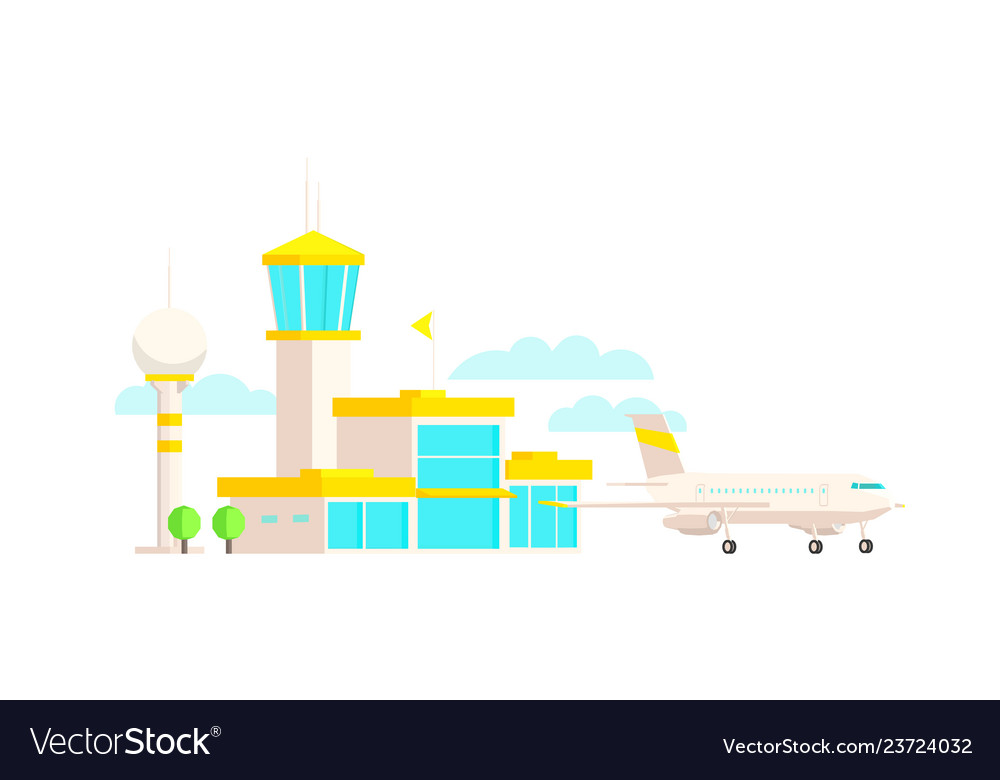 Airport terminal building and airplane passenger