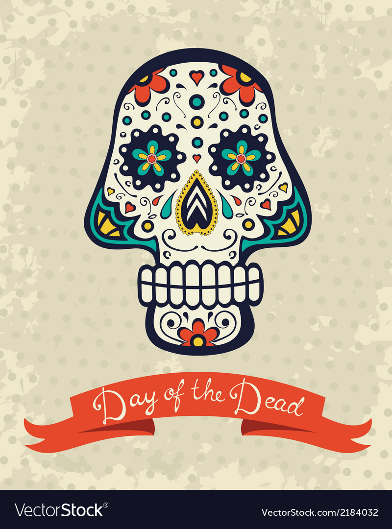 Card with sugar skull vector image